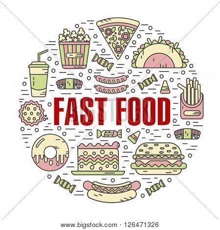 Vector modern line style color illustration of fast food, junk food. Tacos, popcorn, cheeseburger, hamburger, soda, sausage, french fries, sushi, donut, pizza, cake. Round shape icons concept.