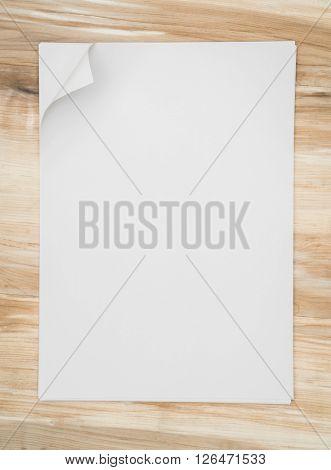 Real Paper Corner Fold on wood background