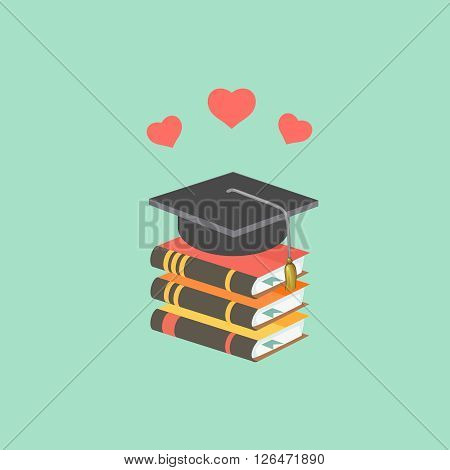 Education concept with mortarboard and books. love to learn