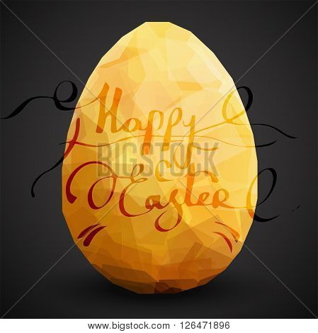 Golden egg. Vector egg design dark template. Modern Vector golden illustration eps10. Premium editable golden egg template for your design. Isolated on black background Easter egg template