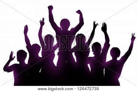 Silhouettes of happy people on white background