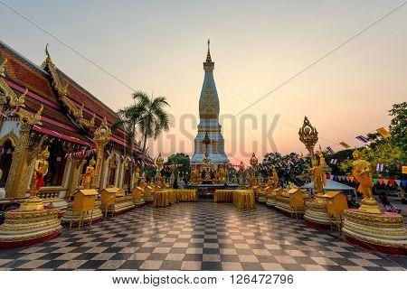 Wat Phra That Phanom Temple during sunset at Nakhon Phanom Province Thailand