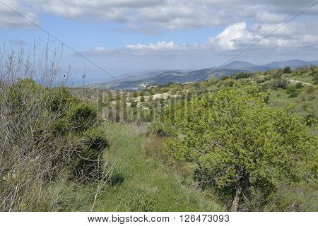 Chrysochou Valley below Kritou Terra overlooking Chrysohou Bay & Troodos Mountains Cyprus