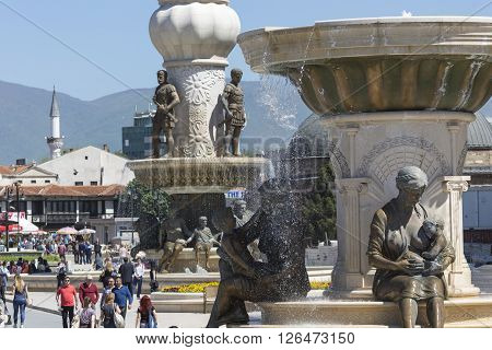 Skopje, Macedonia - April 14, 2016: Square Makedonia, The Capital's Main Square, With People Passing