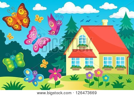 House and happy butterflies - eps10 vector illustration.