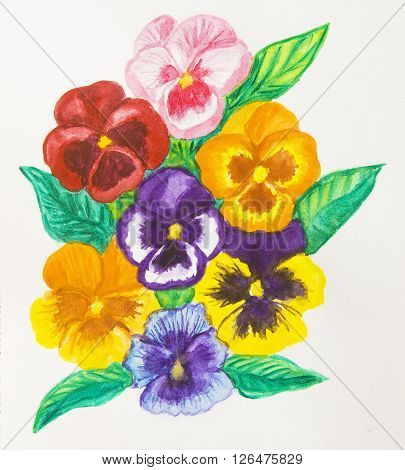Composition with few pansies (viola tricolor) on white background watercolour painting