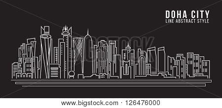 Cityscape Building Line art Vector Illustration design - doha city