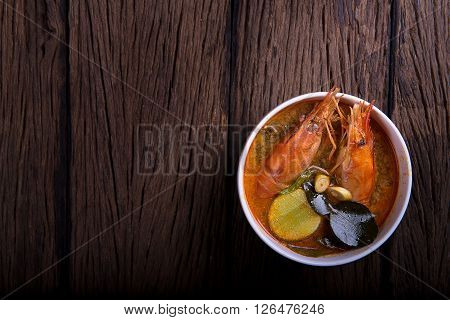 Tom Yum Goong On Wood Background,Thai Food