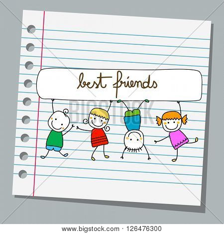 notebook paper happy kids playing best friends