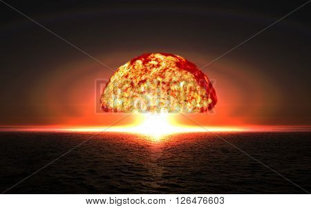 Explosion nuclear bomb in ocean. Explosion of nuclear bomb.