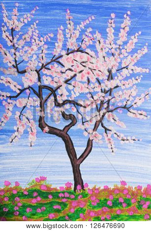 White tree in blossom painting in acrylic