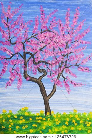 Peach tree in blossom painting in acrylic