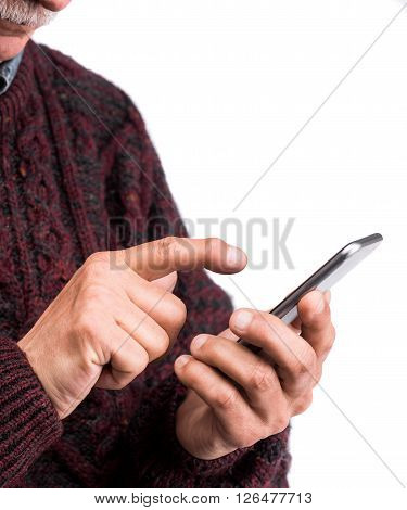 Close Up Of Businessman Holding And Touching Screen