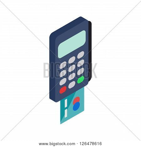 POS terminal icon in isometric 3d style on a white background