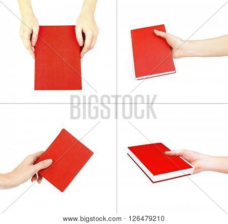 Hand holding bright red book isolated on white in collage