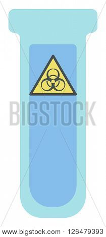 Test tube with biohazard sign.
