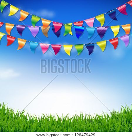 Bunting Birthday Flags With Sky And Grass Border