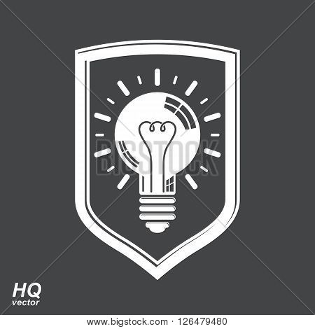 Protection shield with electricity light bulb symbol. Vector brain storm conceptual icon,