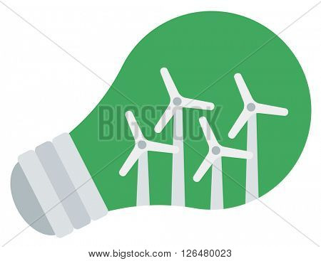 Light bulb and wind turbine inside.