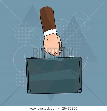 Business Man Hand Hold Brief Case Over Triangle Geometric Background Flat Vector Illustration