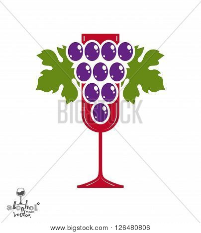 Winery award theme vector illustration. Stylized half full glass of wine with grapes cluster and decorative ribbon racemation symbol best for use in advertising and graphic design.
