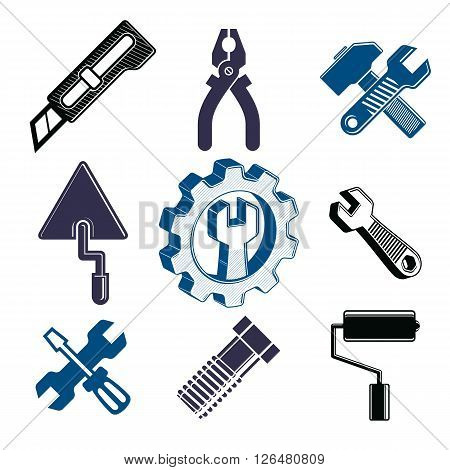 Work tools collection repair instruments for carpentry and manufacturing. Set of vector elements for use in graphic design.