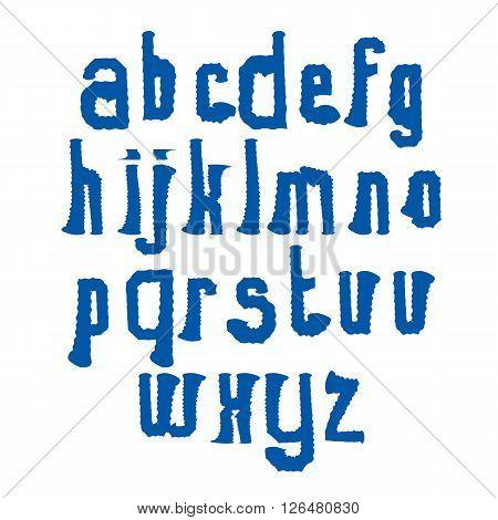 Vector stylish brush lowercase letters handwritten font wavy typeset on white background.