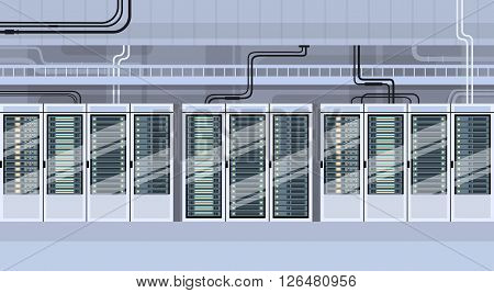 Data Center Technical Room Hosting Server Database Flat Vector Illustration