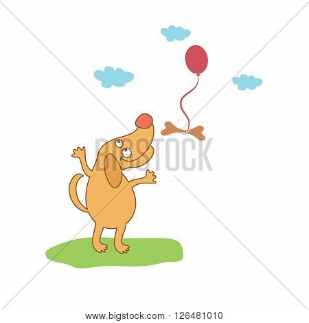 cartoon dog looking at bone. Concept of graphic clip art work