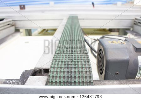 Conveyor belts in the production line of the factory.