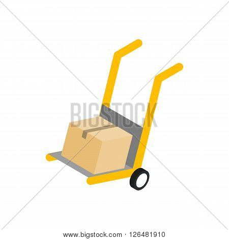 Yellow hand cart with cardboard box icon in isometric 3d style on a white background