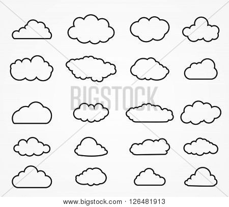 Cloud shapes collection. Cloud icons for cloud computing web and app. Simplus series. Outlined cloud icons