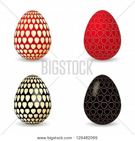 Vector illustration of black and red egg with golden hearts. Easter eggs.