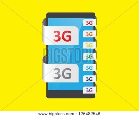 3G connection feature vector illustration smartphone and tablet