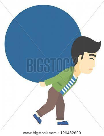Man carrying big ball.