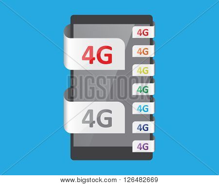 4G connection feature vector illustration for smart phone