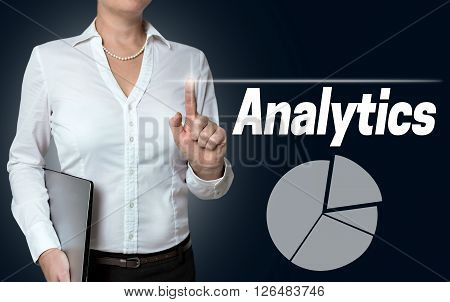 Analytics Touchscreen Is Operated By Businesswoman Background