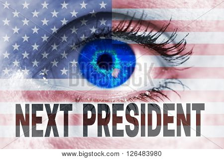 Next President With Usa Flag And Eye Looks At Viewer Concept