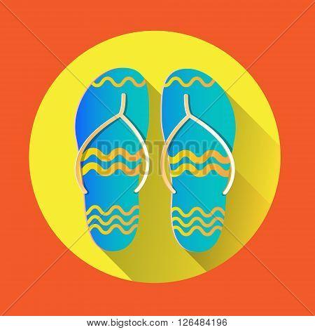 Flip Flops Icon Summer Slippers Foot Wear Flat Vector Illustration