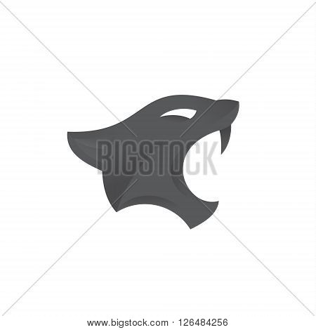 Feline, aggressive with open mouth art logo