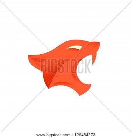 feline with fangs head illustration monogram art