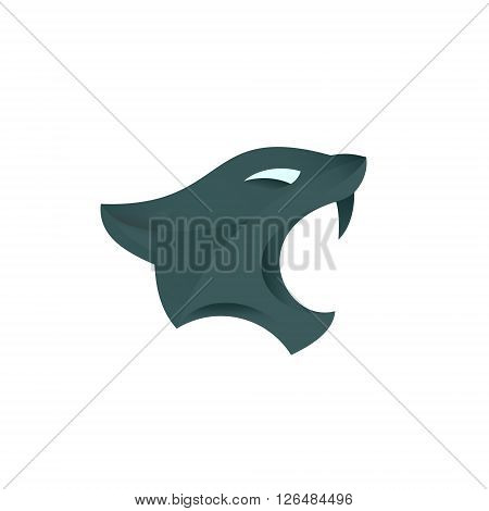 Aggressive Dangerous Panther with fangs head illustration isolated art