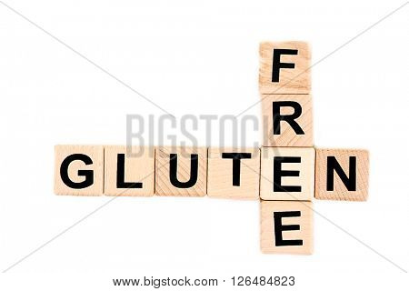 Gluten-free diet concept. Wooden cubes isolated on white