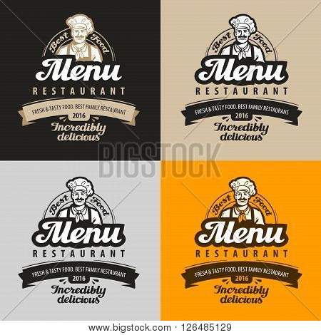 menu restaurant, cafe vector logo. eatery, diner, bistro or chef, food icon