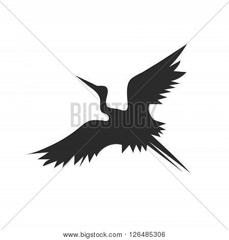 Crane with spread wings flying up stylish vector logo in flat minimalism bird on a white background art
