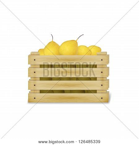 Vector illustration of a wooden box with yellow pears. Isolated on white background.
