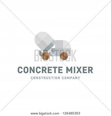 Concrete Mixer machine flat gray style geometric logo design illustrations art