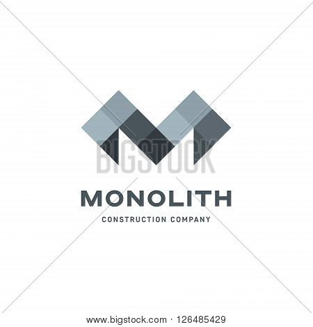 Geometric letter M beneath the logo mark of a modern flat style vector art
