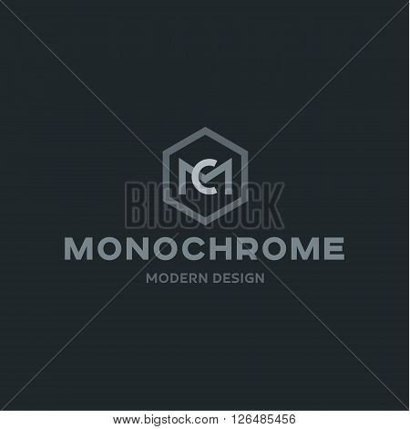 Monochrome, Modern abbreviation of two letters M and C in flat style minimalist design art