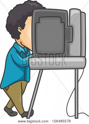 Illustration of a Man Using an Automated Machine to Vote